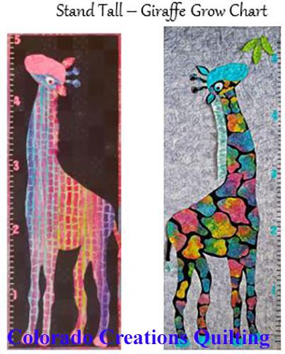 These two adorable five-foot brightly spotted giraffes in pinks, blues and yellows on a background of either black or gray in the form of a grow chart are the subjects of this quilt pattern, Stand Tall, by Jackie Vujcich of Colorado Creations Quilting.