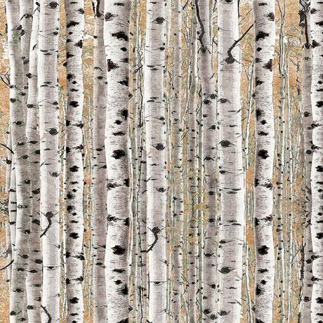 Packed Birch Tree Trunks Cotton Fabric