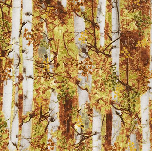 Packed gray birch or aspen tree with fall leaves in gold, green and brown by Timeless Treasures