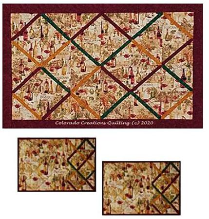 Display of all fabrics (wine print, red, green, gold) needed for Tuscan Memories quilt pattern by Jackie Vujcich of Colorado Creations Quilting