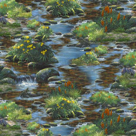 Wandering Stream Black bears are hanging out in their typical habitats among streams, logs and evergreens by Quilting Treasures Fabrics
