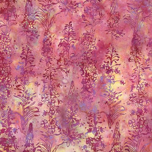 Lupine and Paintbrush Wildflowers on Pink Batik Fabric by Hoffman Fabrics
