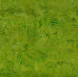 This batik fabric features palm fronds in bright lime green. Available at Colorado Creations Quilting