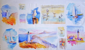 3 Wishes fabric panel of watercolored images such as sailboats, light houses, seagulls and sand pipers.  Available at Colorado Creations Quilting