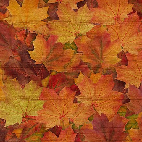 This 100% cotton fabric features rich maple leaves in shades of orange, red and yellow.  Great for use in applique, quilt or craft projects.