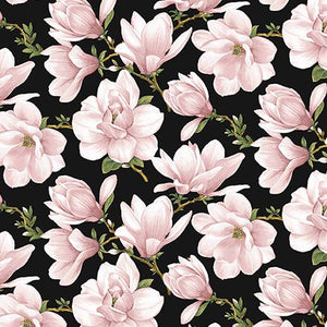 This 100% cotton fabric features beautiful coral/pink magnolias splashed on a black background.  Great for use in applique, quilt or craft projects.