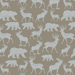 "This 100% cotton fabric features silhouettes of wildlife like bears, deer, moose in light gray on a medium gray background to give you that ""modern lodge"" feel."