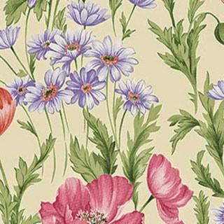 Pink, Coral and Lilac Flowers on Cream Background