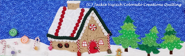 Sugar & Spice quilt pattern row shows gingerbread house and evergreen trees available at CCQ