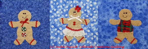 Sugar & Spice quilt pattern row shows gingerbread people available at CCQ