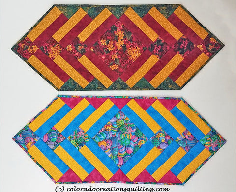 Fun and Done table runner ha a center square on point with multiple borders surrounding it.