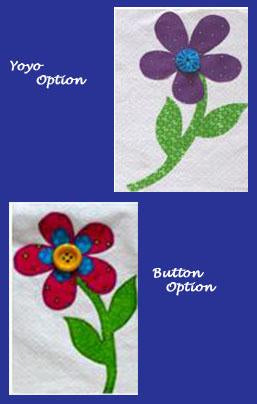 Flower Power Quilt: Shows flower center options either yoyo or button available at Colorado Creations Quilting