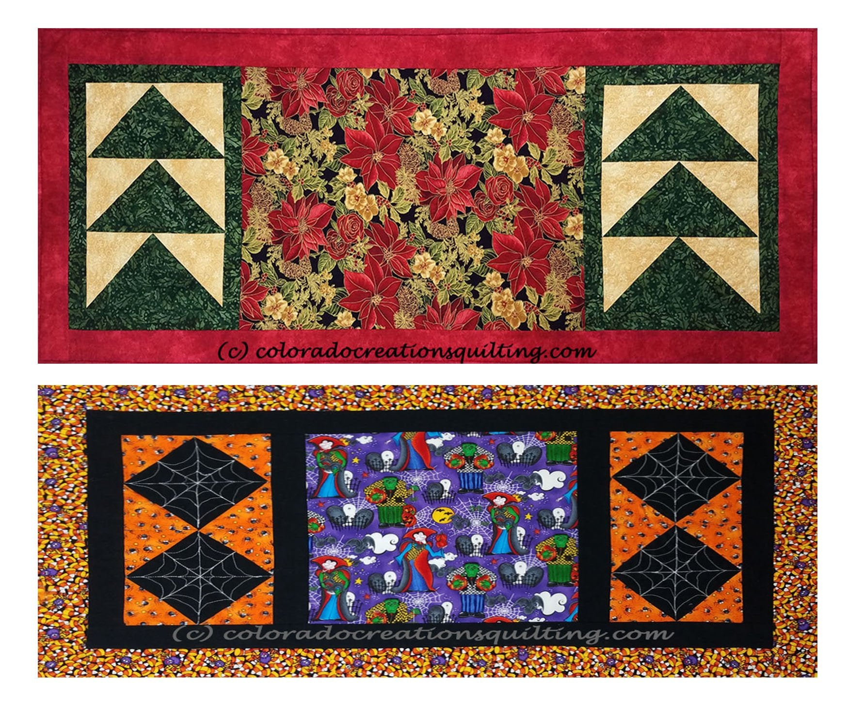 Change of Seasons quilt table runners: 1st has red pointsettias with pieced trees and 2nd has Halloween fabric with spiderwebs