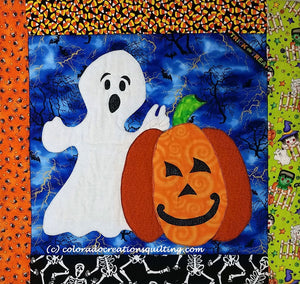 Jack O'Lantern pumpkin and Ghost holding two fingers up behind his head