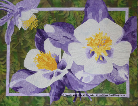 Colorful Columbines art quilt pattern by Colorado Creations Quilting
