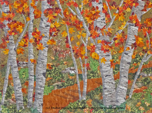 Among the Trees quilt shows a dirt path among aspen trees with lush foliage and gold/rust leaves.  A family of dear are grazing in the meadow available at Colorado Creations Quilting