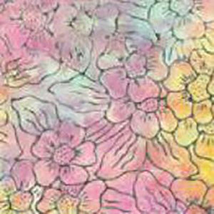 Multi-pastel flowers in pink, yellow, orange and blue batik cotton fabric. Available at Colorado Creations Quilting