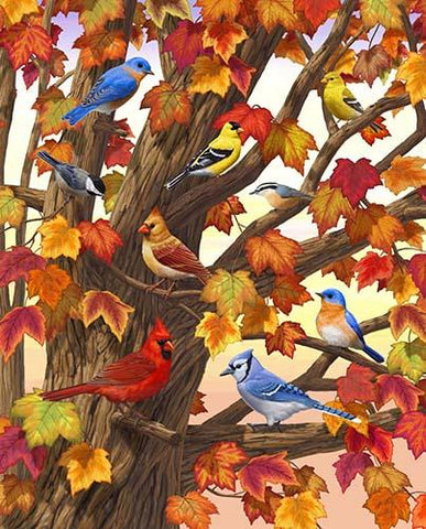 This panel features a maple tree in all it's autumn splendor A myriad of birds such as a cardinal, a blue jay, and a goldfinch, to name a few, take shelter in it's branches. Available at Colorado Creations Quilting