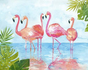 This panel features pink and coral flamingoes wading in rich blue water with lucsious tropical plants rounding out the scene.  Available at Colorado Creations Quilting