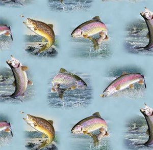 The 100% cotton fabric features vignettes of trout jumping out of the water to catch a fly.
