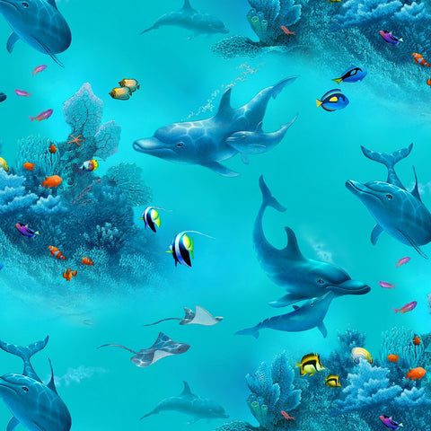 This delightful fabric features graceful dolphins swimming in turquoise blue water among coral and other tropical fish along the sea floor. Available at Colorado Creations Quilting