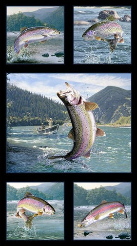 This multi-image fabric panel features 5 rainbow trout fish jumping out of the river to catch a fly.  The fish are bordered with black. Available at Colorado Creations Quilting