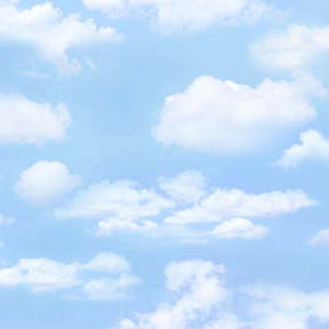 light blue sky with large puffy clouds cotton fabric available at Colorado Creations Quilting
