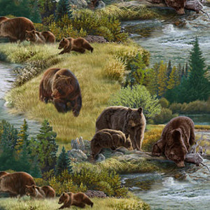 Brown grizzly bears among streams and meadows available at Colorado Creatioins Quilting