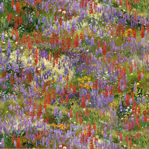 multiple wildflowers on a field of green cotton fabric available at Colorado Creations Quilting