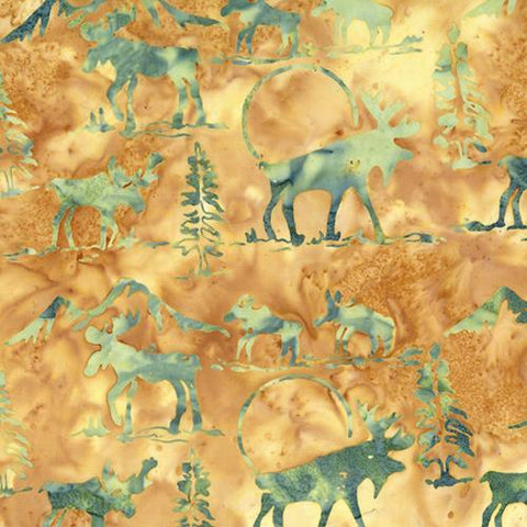 Moose and evergreen trees on a tan background