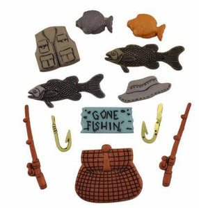 Image of 12 fishing novelty buttons such as fish, reels, hooks and a gone fishing sign. Available at Colorado Creations Quilting