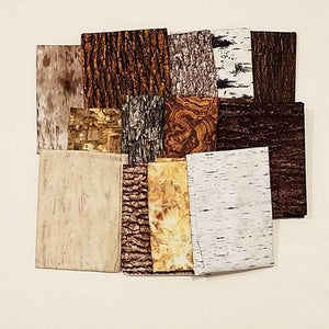 This fat quarter bundle has a selection of 6 or 10 bark and wood-grain cotton fabrics in browns and tans
