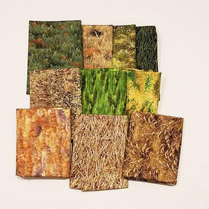 This fat quarter bundle has a selection of grass cotton fabrics from bright greens to golden wheat.