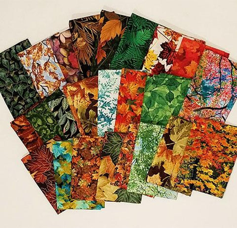 This cotton fat quarter bundle has an assortment of trees in various seasons and species like aspens, evergreens, oaks and birches.