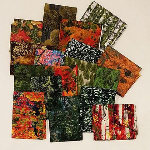 This cotton fat quarter bundle has an assortment of trees in various seasons and species.