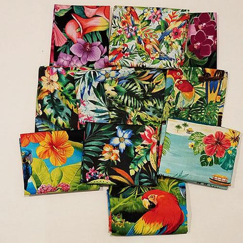 This fat quarter bundle has a selection of tropical-variety flower cotton fabrics like hibiscus, plumeria, orchids,  Bird of Paradise