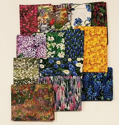 This fat quarter bundle has a selection of wildflower cotton fabrics like lupine, bluebonnet, daisy cornflowers and paintbrush