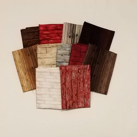 This fat quarter bundle has a selection of 6 or 10 bark and wood-grain cotton fabrics in browns, reds and tans