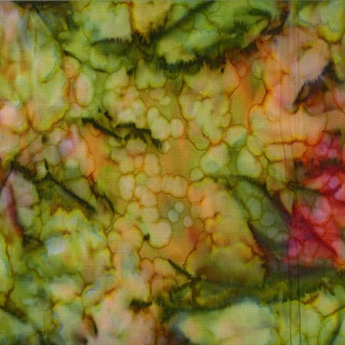 Mottled  Greens, Golds and Reds Batik Cotton Fabric available at Colorado Creations Quilting