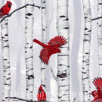 Cardinals and Birch Cotton Fabric by Hoffman Fabrics