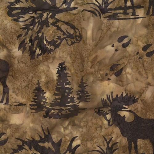 Moose and evergreen trees on a brown background