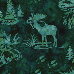 Moose and evergreen trees on a teal background