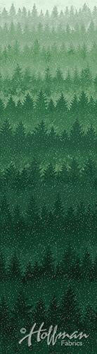 Evergreens on Blue Ombre Fabric