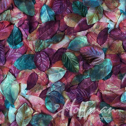 Packed leaves in shades of purple and turquoise