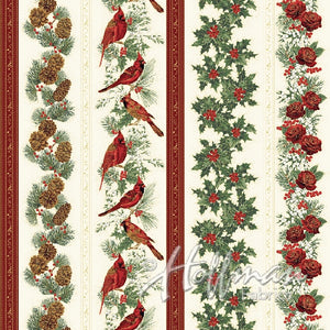 Cardinals and pinecone striped fabric available at Colorado Creations Quilting