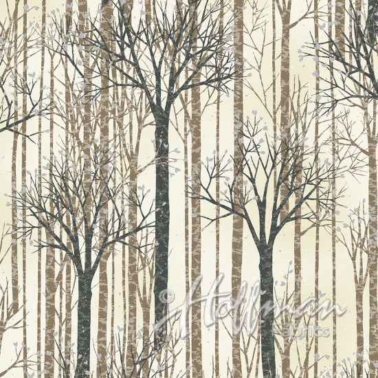 Silver and Brown Winter Trees on White background Available at Colorado Creations Quilting