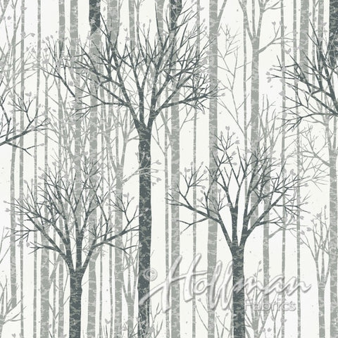 Silver and Black Winter Trees on White background available at Colorado Creations Quilting