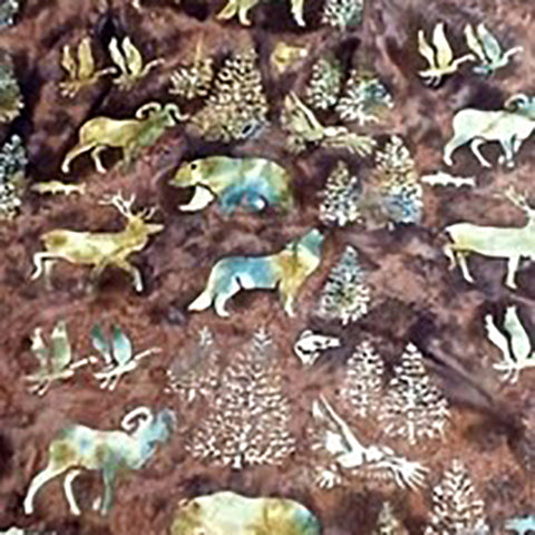 Wildlife, tan on brown background available at Colorado Creations Quilts