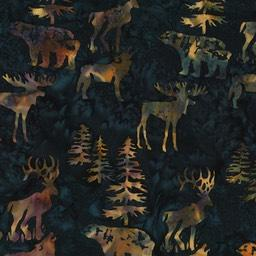 tan bears, moose, elk, evergreens on navy batik fabric available at Colorado Creations Quilting