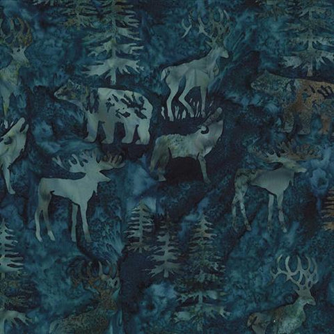 Images of bears, moose, elk, evergreens on teal blue background batik fabric